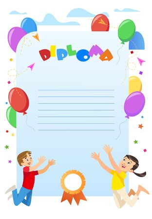 Diploma Certificate for Kindergarten, Elementary School, Preschool Student. Cheerful Cartoon Kids Jump with Hands Up. Balloons and Clouds Border. Seal Stamp. Colorful Vector illustration, Copy Space