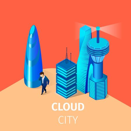 Man Walk at Smart Cloud City. Intelligent Buildings, Automation with Computer Networking. Management System. Iot Platform and Future Technology. 3D Isometric Cartoon Vector Illustration, Square Banner Illustration
