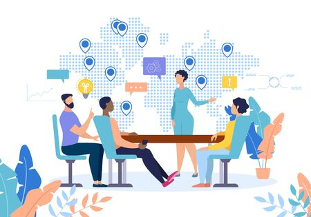 Flat Banner Development Relationships at Work. Lounge for Eating. Woman Holds Presentation Project, Showing Coverage Areas on Map. People Listen to Speaker Cartoon. Vector Illustration.