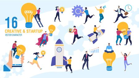 Creative Business People Launching Startup Trendy Flat Vector Characters Set. Businesspeople Female, Male Characters Generating Ideas, Starting Successful Business, Making Inventions Illustration