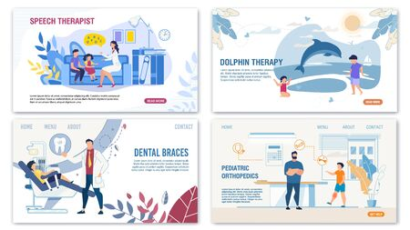 Kids Treatment, Children Diseases and Disorders Landing Page Set. Alternative Medical Methods. Dolphin Therapy, Pediatrics Orthopedics and Dentistry, Speech Recovery. Vector Illustration