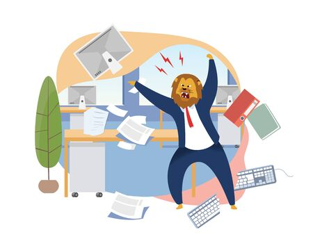 Angry Boss with Lion Head Vector Illustration. Office Worker Metaphor as Animals King. Mad Employer Shouting. Workday, Work Rush, Chaos, Deadline Concept. Papers, Documents, Folders, Keyboard Flying 일러스트