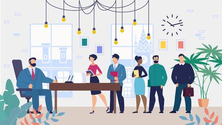 Informational Flyer Reception Employees at Head. Men and Women are Standing in Office with Documents in Office Boss, with Goal an Audience. Boss Signs Petition from Employees. Vector Illustration.