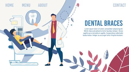 Flat Landing Page Design. Cartoon Dentist in Uniform Serve Child at Stomatological Office. Dental Braces Setting. Teeth Alignment and Treatment. Online Clinic Healthcare Service. Vector Illustration