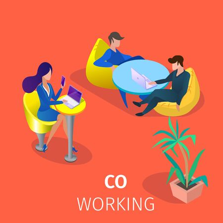 Male and Female Businesspeople Characters Sit at Tables in Modern Coworking Area Work And Relaxing Together. Business People Teamworking Project 3D Isometric Cartoon Vector Illustration, Square Banner