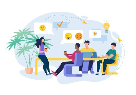 Flat Banner Development Relationships at Work. Lounge for Eating. Girl Communicates at Work with Men During Coffee Break. Guys Look at Beautiful Girl in Office. Vector Illustration.