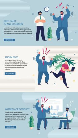 Set Banner Inscription Keep Calm in any Situation. Poster Lettering Angry Boss, Workplace Conflict. Difficulty Communicating in Workplace. Man in Suit is Angry. Vector Illustration. 일러스트