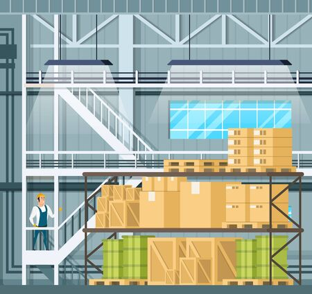 Indoor Storage Full of Goods, Freight on Shelf. Warehouse Interior with Tank, Wooden Pallet and Package. Factory Character in Uniform and Hard Hat Staying on Stairs. Cartoon Vector Illustration