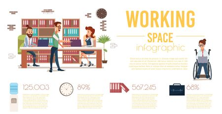 Comfortable, Disabled-Accessible Coworking Space Trendy Flat Vector Infographics Banner or Poster Template. Businesspeople Team Working in Office, Woman in Wheelchair Using Laptop Illustration