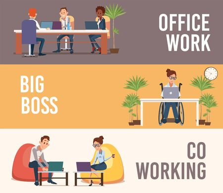 Office Work, Company Big Boss, Coworking Space Trendy Flat Vector Banners, Posters Set. Company Employees Team Working in Office, Disabled Woman in Wheelchair, Coworkers Using Laptop Illustration Illustration