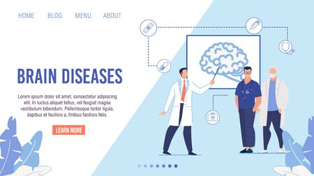 Flat Medical Landing Page Layout for Online Clinic, Internet Healthcare Service. Doctors in Uniform Giving Presentation about Brain Disease Risks and Dangers. Vector Cartoon Illustration