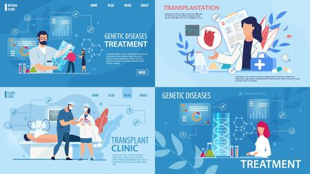 Genetic Disease Determination, Therapy. Transplantation, Life Saving. Flat Landing Page in Trendy Medical Design Set. Treatment and Health Insurance. Laboratory, Clinic. Vector Cartoon Illustration Ilustrace