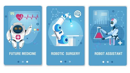 Future Medicine Healthcare Robotic Technology Mobile Webpage Set. Flat Landing Page for Medical Social Media Network. Online Service for Consultation and Treatment. Vector Cartoon Illustration