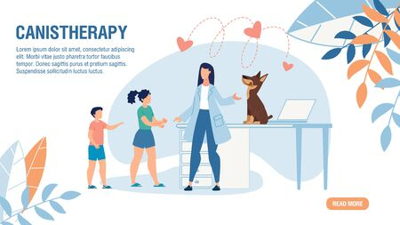 Trendy Flat Design Landing Page Offering Canistherapy. Veterinary Service Online for Domestic Animals. Cartoon Woman Veterinarian, Children Per Owners and Dog on Examination Table. Vector Illustration