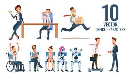 Gente de negocios, empleado de la empresa, humanoides robóticos aislados conjunto de caracteres de moda Vector plano. Trabajadores de oficina comiendo pizza, feliz hombre discapacitado, empresario en Hoverboard, Ilustración de candidato de trabajo Ilustración de vector