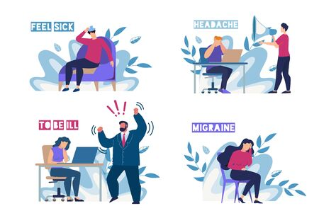 Sick People Characters Feeling Unwell on Workplace Flat Set. Man Woman Suffering from Migraine, Headache and Angry Arguing Boss. Sickness and Illness. Foliage Design. Vector Cartoon Illustration