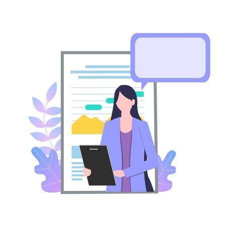 Personnage de dessin animé de femme d'affaires avec l'illustration vectorielle de présentation de présentation de papier de rapport. Secrétaire Professionnelle Presse-papiers Assistant Personnel Enquête Femme Employée De Bureau Fille Confiante
