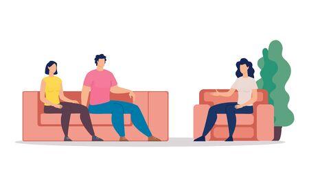 Concepto de Vector plano de moda de terapia familiar. Pareja casada, esposa y esposo visitando consejería de psicoterapia, sentado en el entrenador en la sesión de terapia, psicólogo hablando con pacientes ilustración