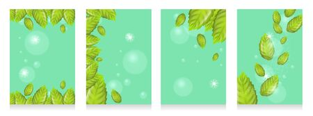 Set of Realistic Illustration Fresh Mint Leaves on Green Background. 3d Vector image with Mint Leaves Flying in Sunshine and Bubbles. Cooling Effect Mint Products. Advertising Banner or Brochure Illustration