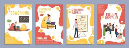 Espace de coworking, planification stratégique de l'entreprise, désactiver les personnes pleines de vie heureuse bannières verticales à la mode à vecteur plat, ensemble de modèles d'affiches. Employés travaillant au bureau, heureux de l'illustration du succès