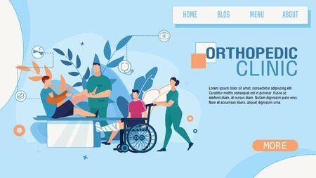 Flat Landing Page Advertising Orthopedic Clinic Service. Cartoon Orthopedist Examining Injured Sportsman Leg. Caregiver Nurse Strolling Disabled Man in Wheelchair. Vector Doctor Office Illustration