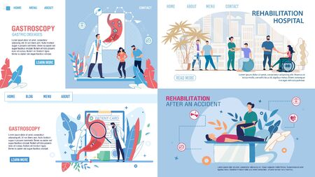 Flat Medical Landing Page Set Offer Gastroscopy Test and Rehabilitation. Musculoskeletal System and Muscle Tissue Recovery after Injury, Accident. Vector Cartoon Doctors and Patients Illustration