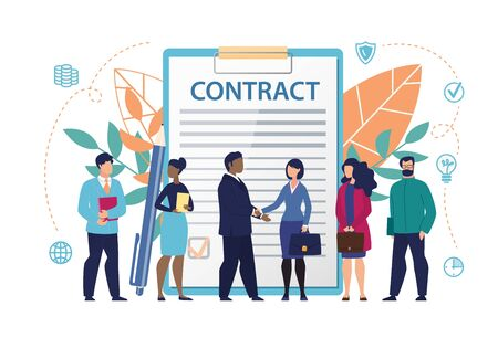 Poster Inscription on Document Contract Flat. Constant Access to Office Information. Men and Women Stand in Background Large Document with Inscription Contract. Vector Illustration.