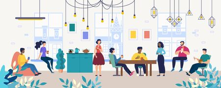 Lunch, Coffee Break with Colleagues in Company, Coworking Office Flat Vector Concept. Multinational Employees, Workers Gathering Together for Informal Conversation on Kitchen, Lounge Room Illustration