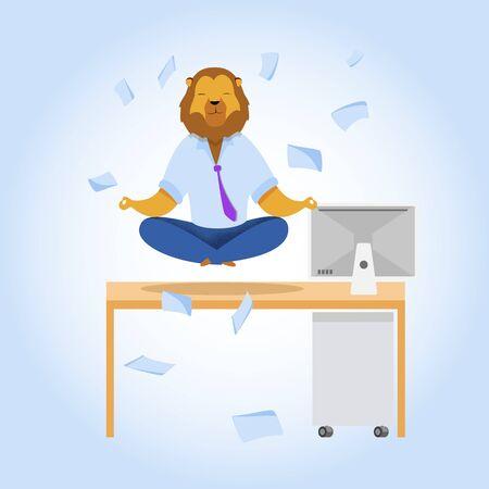 Office Worker with Lion Head Meditating Clipart. Metaphor of Relaxed Businessman as Animals King. Calm Employee at Workplace. Time Management Vector Concept. Man in Yoga Lotus Position Clearing Mind