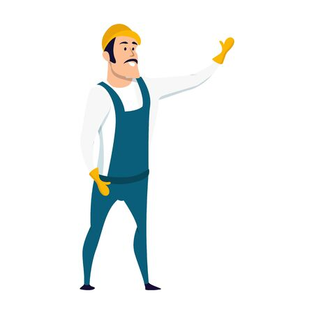 Smiling Male Warehouse Worker Character Standing with his Hand Up. Happy Factory Staff Wearing Overall Uniform and Hard Hat. Engineer Man in Safe Outfit. Flat Cartoon Vector Illustration