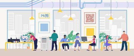 Daily Work and Office Routine Flat Vector Concept. Multinational Employees Sitting at Desk, Working on Computer, Doing Standard Paperwork, Communicating with Colleagues in Company Office Illustration Иллюстрация