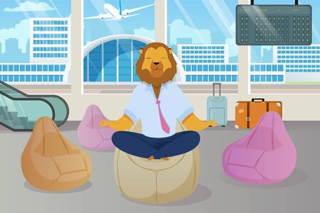 Office Worker with Lion Head Meditating Clipart. Metaphor of Relaxed Businessman as Animals King. Employee in Lotus Position in Airport Lounge. Calm Down, Clear Mind Flat Cartoon Vector Concept Ilustração