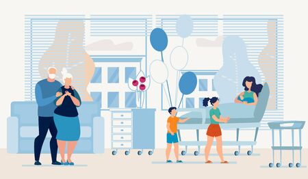 Happy Relatives Visiting Mother with Newborn Baby at Maternity Department. Parturient Parents and her Children Greeting Young Woman Family Replenishment. Vector Cartoon Flat Illustration