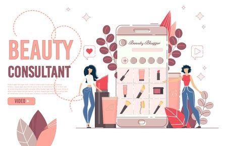 Page de destination pour la consultation de blogs en ligne sur la beauté. Revue de la mode et des cosmétiques. Jeune blogueur de réseau de médias sociaux donnant des conseils au client, racontant les tendances des cosmétiques de maquillage. Tutoriels vidéos