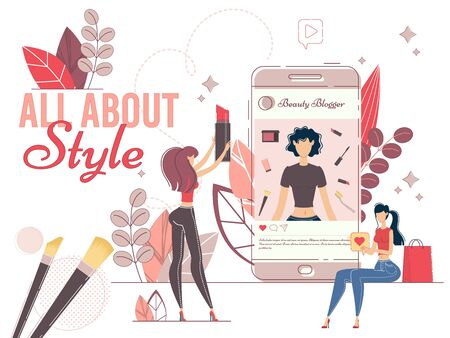 Fashionable Style Blogger in Social Media Network. Female Video Blog. Beauty Instablog Production. Online Consultant Sharing Trends in Cosmetics, Makeup and Fashion. Followers and Inscribers