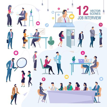 Job Interview in Office Trendy Flat Vector Scenes Set. Female, Male Job Applicants, Work Candidates Waiting for Interview, Talking with HR Manager, Presenting Himself for Company CEO Illustration