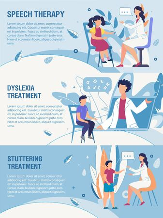Informational Trendy Flat Header Banner Advertising Kids Speech Disorders Therapy. Cartoon Medical Specialist Training Children Online or at Personal Appointment. Vector Healthcare Illustration