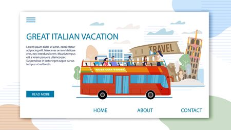 Touristic Tour, Bus Excursions in Italian Cities Trendy Flat Vector Web Banner, Landing Page. Female Guide Telling Tourists About Rome Famous Attractions on Double-Decker, Open Top Bus Illustration