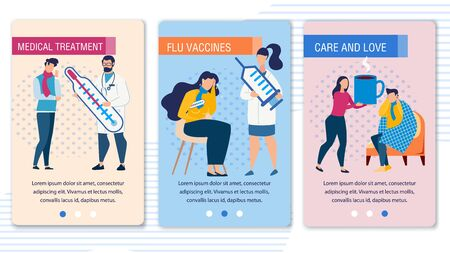 Sick People and Doctor Character. Mobile Landing Page Set Offering Medical Treatment and Flu Shot Vaccines, Promoting Care and Love for Person Having Cold. Vector Trendy Flat Illustration