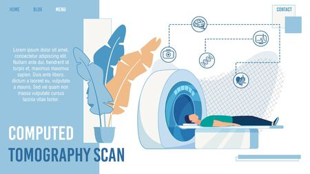Computed Tomography Scan Medical Service. Trendy Flat Design Landing Page for Clinic Offering Hardware Examination, Diseases Detection and Treatment. Vector Cartoon Patient in Tomograph Illustration