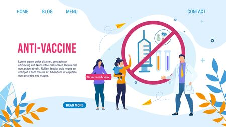 Flat Landing Page with Anti-Vaccination Design. Cartoon Women with Children Demonstrating Against Kids Immunization. Doctor Insisting on Need for Preventive Medicine. Vector Illustration