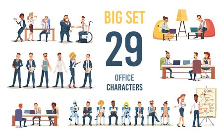 Business People in Office, Working in Coworking Space Entrepreneurs, Company Employees, Job Candidates Waiting for Interview Trendy Flat Vector Illustration Characters Set Isolated on White Background