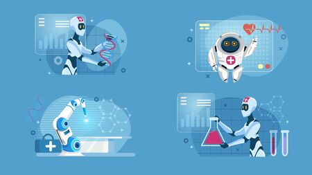Smart Robotic Artificial Intelligence Medical Flat Set. Performing Surgery, Checking up Heartbeat and Conducting Laboratory DNA Tests. Future Medicine. AI Technology. Vector Cartoon Illustration