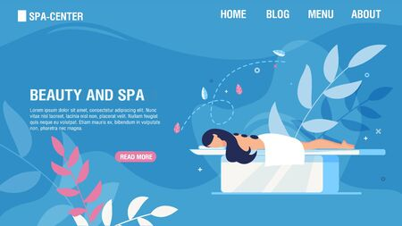 Flat Landing Page Offering Beauty and Spa Services. Girl Enjoying Traditional Hot Stone Therapy. Woman Patient Lying on Table. Body Relaxation, Back Treatment, Healthcare. Vector Cartoon Illustration