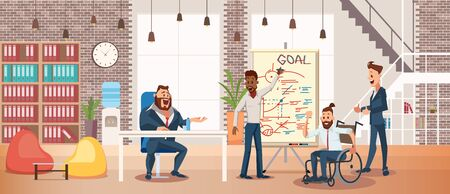 Business Career for Disabled People, Equal Right to Work of Persons with Disabilities Trendy Flat Vector Concept with Man in Wheelchair Taking Part in Business Team Meeting in Office Illustration Vektoros illusztráció