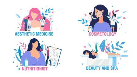 Insieme di scene di persone di assistenza sanitaria e trattamento delle donne. Cartoon Ladies and Doctors Cosmetologo, consultazione nutrizionista. Bellezza della pelle del viso. Cura del corpo e relax. Medicina Estetica. illustrazione vettoriale