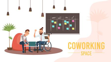 Modern Coworking Space, Co-Work Center or Office Trendy Flat Vector Banner, Poster Template. Male Entrepreneurs, Businessman in Wheelchair Working with Colleague, Developing Startup Illustration