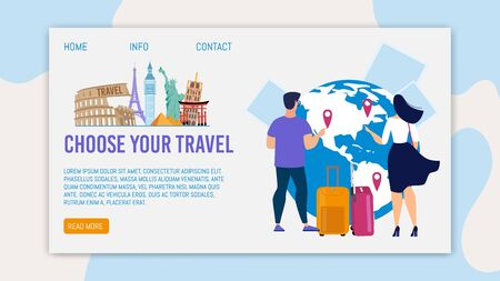 Travel Agency International Tours, Airline Charters Trendy Flat Vector Web Banner, Landing Page Template. Male, Female Tourists, Travelers with Baggage Bags Choosing Destinations on Map Illustration