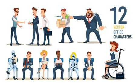 Office Workers, Employees for Hire Trendy Flat Vector Characters Set. Meting with Vacancy Candidates, Work Dismissal, People and Robots Waiting for Job Interview, Woman in Wheelchair Illustrations