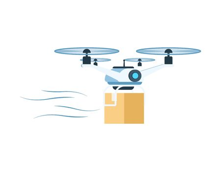 Modern Delivery Air Drone Flying with Package Box. Fast Future Transportation Technology. Factory Warehouse Shipping Device for Mail, Parcel or Goods. Flat Cartoon Vector Illustration